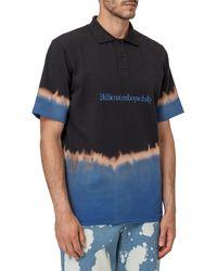 BBCICECREAM Bleached Effect Logo Embroidered Polo Shirt - Blue
