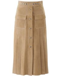 Prada Suede Leather Skirt - Natural