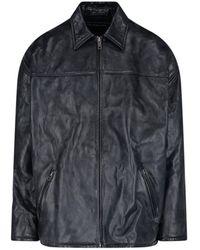 Balenciaga Crinkled Leather Jacket - Black