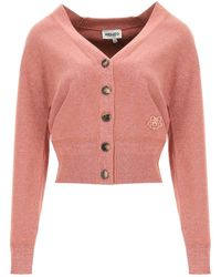 KENZO Cotton Cardigan Tiger Crest Patch - Pink
