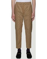 Gucci Webbing-trimmed Logo-print Jersey Track Pants - Brown