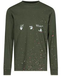 Off-White c/o Virgil Abloh Logo Print Paint Effect Long Sleeve T-shirt - Green