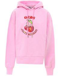 Gcds Cherry Printed Cotton Hoodie - Pink
