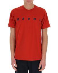 Marni Logo Print T-shirt - Red