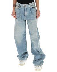 R13 Damon Wide Leg Jeans - Blue