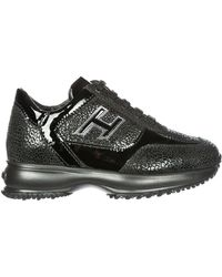 Hogan Contrasting Panelled Chunky Sneakers - Black
