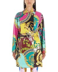 Versace Baroque Print Belted Coat - Multicolor
