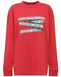 JW Anderson Oscar Wilde Capsule Tape Print Long Sleeve T-shirt - Red