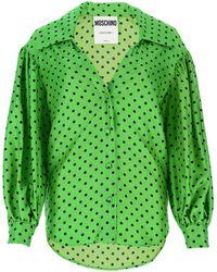 Moschino Polka Dot Printed Blouse - Green
