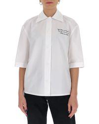 Off-White c/o Virgil Abloh Logo Embroidered Baseball Shirt - White