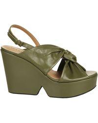 Robert Clergerie Dixie Wedged Sandals - Green