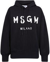 MSGM Logo Print Drawstring Hoodie - Black