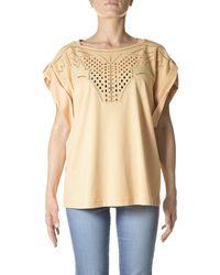 Alberta Ferretti Embroidered Short-sleeved T-shirt - Natural