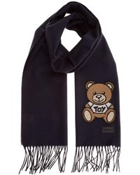 Moschino Teddy Patch Fringed Scarf - Blue