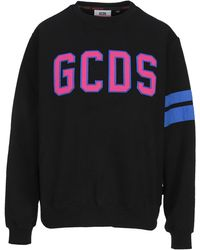 Gcds Side Striped Crewneck Sweatshirt - Black