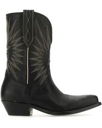 Golden Goose Black Leather Wish Star Low Boots Nd