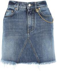 Givenchy Chain Detail Mini Denim Skirt - Blue