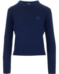 Loewe Anagram Embroidered Cropped Sweater - Blue
