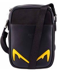 Fendi Bag Bugs Front Pocket Small Messenger Bag - Black