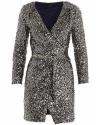 Pinko Sequin-embellished Wraparound Mini Dress - Metallic