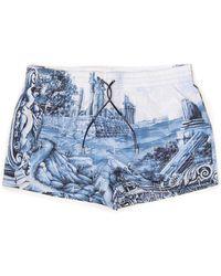 Dolce & Gabbana Tile Print Swim Shorts - Blue