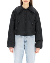 Ganni Zip-up Down Jacket - Black
