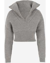 Jacquemus Mock Neck Sweater - Gray