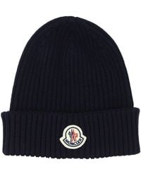 Moncler Logo Patched Ribbed Beanie - Blue