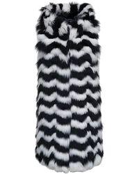 FRAME Losanghe White And Black Fur Vest