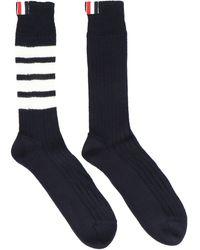 Thom Browne 4-bar Stripe Socks - Blue