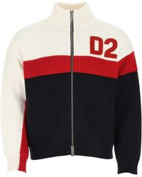 DSquared² Multicolour Wool Cardigan - Red