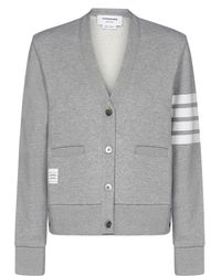 Thom Browne 4-bar Stripe Cardigan - Gray