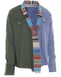 Greg Lauren Striped Kimono Jacket - Blue