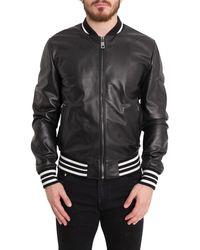 Dolce & Gabbana Leather Bomber Jacket - Black
