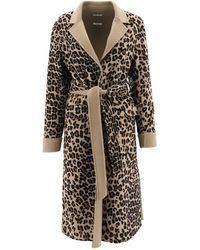 P.A.R.O.S.H. - Belted Leopard Print Coat - Lyst
