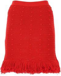 Bottega Veneta Knitted Fringed Mini Skirt - Red