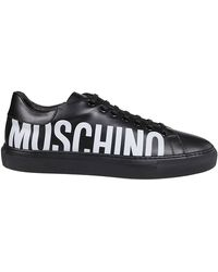 Moschino Logo Print Lace-up Sneakers - Black