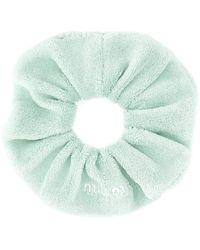 Miu Miu Logo Embroidered Scrunchie - Green