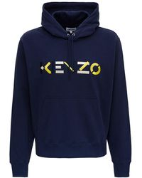 KENZO Hooded Sweatshirt With Multicolour Logo Embroidery L Cotton - Blue