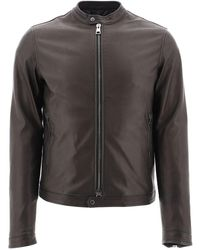 Tagliatore Zipped Biker Jacket - Brown
