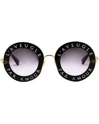 Gucci Slogan Printed Round Sunglasses - Black