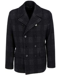Dolce & Gabbana Checked Double-breasted Coat - Grey
