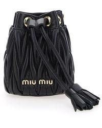 Miu Miu Mini Drawstring Bucket Bag - Black