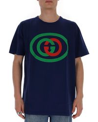 Gucci Oversize T-shirt With Interlocking G - Blue