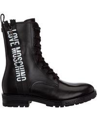 Love Moschino Logo Print Combat Boots - Black