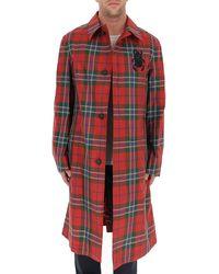 Alexander McQueen Tartan Motif Single Breasted Coat - Red