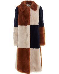Stella McCartney Fur Free Fur Panelled Coat - Orange