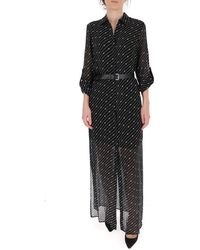Michael Kors Printed Maxi Shirt Dress - Black