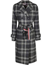 Thom Browne Double Breasted Checked Belted Coat - Grey