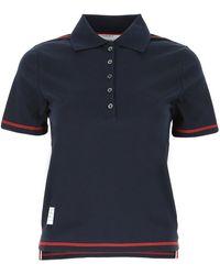 Thom Browne Logo Patch Polo Shirt - Blue